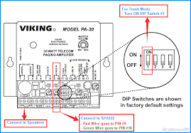 how do i configure a viking pa 30 paging system to work 8x8 connect the speakers to pins 1 and 2 and pins 3 and 4 on the pa 30