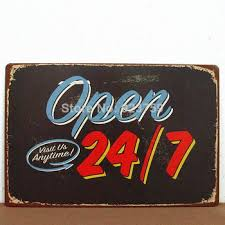 get ations open 24 7 visit us anytime tin sign bar pub home wall decor retro metal