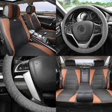 fh group car seat covers pu leather 5 seats full set black brown w gray