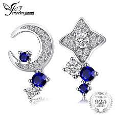 2019 <b>JewelryPalace Moon</b> & <b>Star</b> Created Sapphire Stud Earrings ...