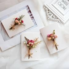 Folded Birthday Card Korea Creative Handmade Diy Dried Flowers Folded Greeting Card Classmates Employees Birthday Wedding Small Fresh Postcard Card