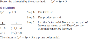 Ac Method Solved Factor The Trinomials Using The Ac Method See Example