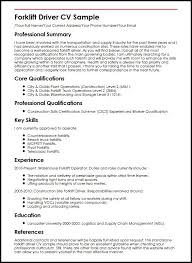 Gallery Of Forklift Driver Cv Sample Myperfectcv Personal Driver