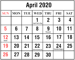 April 2020 Calendar Printable April Calendar Template