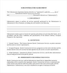 Subcontractor Agreement Format Construction Subcontractor Agreement Template Sample Documents In