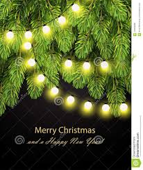 Holiday Branches With Lights Christmas Lights On Pine Branches Stock Vector