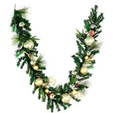 vickerman pre decorated mixed green artificial garland 6ft x 12in gold