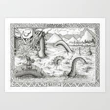 Jormungand Battle Art Print