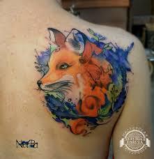 лиса на лопатке в стиле акварель фото татуировок