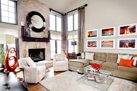 beautiful mantle clock in living room transitional with tufted sofa next to curtain style alongside two