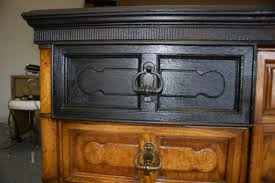 black painted furnitureCredenza Refinished To Distressed Black With Gold Leaf Accent