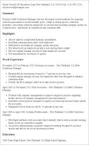 Resume Templates: Debt Collection Manager