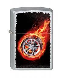 <b>Зажигалка ZIPPO Tire</b> On Fire, латунь, серебристый с ...