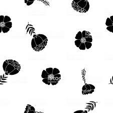 白の花の黒のシルエットでおしゃれなシームレス パターン いたずら書きのベクターアート素材や画像を多数