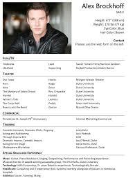 Actors Resume Resume Cv Cover Letter