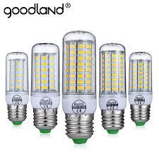 goodland e27 led lamp e14 led bulb smart ic 220v 240v corn light no flicker 24