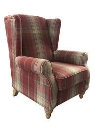 red tartan winged back armchair