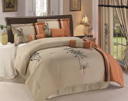 asian comforter set 7pc rust taupe black oriental bamboo queen king