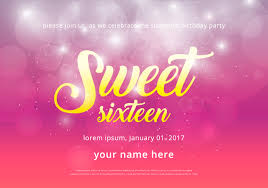 sweet 16 ilration birthday invitation template free vector art stock graphics images