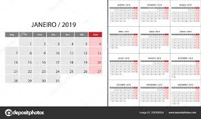 Calendar 2019 Week Start Monday Portuguese Language Template Planner