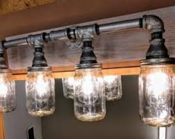Image Kitchen Mason Jar Lighting Bathroom Vanity Or Dining Room Table Industrial Light Fixture Etsy Mason Jar Lighting Etsy