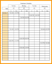 Ms Word Lesson Plans Employee Work Schedule Template Free Word Excel Format Microsoft