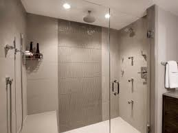 modern shower head recessed bathroom lighting. Cozy Shower Area With Clear Glass Door And Ceiling Mount Head Plus Recessed Led Lighting Modern Bathroom R