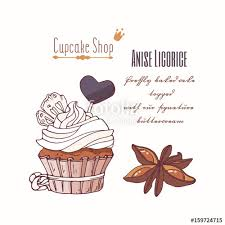 Hand Drawn Cupcake With Stars Of Anise Licorice Candy And Doodle