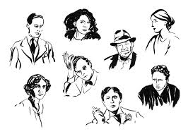 journal cover illustrations modernist writers on behance from l to r top row lili elbe assia djebar v s naipaul virginia woolf middle truman capote bottom agnes smedley oscar wilde gertrude stein