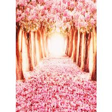 Cherry Blossom Backdrop Mohoo 5x7ft Silk Photography Backdrop Cherry Blossoms Street Studio Photography Backdrop Photo Background Beautiful Flower 1 5x2 1m Updated Material