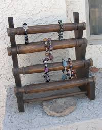 Wooden Necklace Display Stands Jewelry display bracelet stand wooden store craft show Jewellery 60