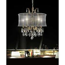 halo 5 light antique brass chandelier with black shade