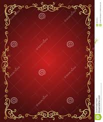 Empty Invitation Card Design Wedding Invitation Border In Red And Gold Stock Vector
