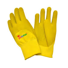 g f products justforkids premium yellow green microfoam texture coating kids all purpose gloves