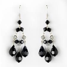 black crystal chandelier earrings for wedding and prom
