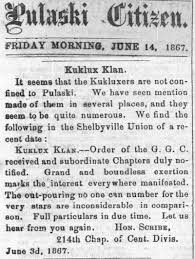 charity by day punishment by night the ku klux klan in fort  some background the first incarnation of the ku klux klan was founded in pulaski tennessee in 1865 during reconstruction