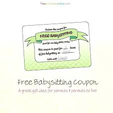 babysitting certificates babysitting gift certificate template marvelous free coupon