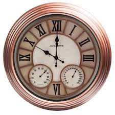 copper metal outdoor clock with thermometer and humidity 70561 the home depot