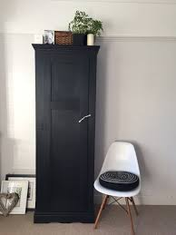 Black Antique Linen Cupboard Vintage Kitchen Larder Matt Black