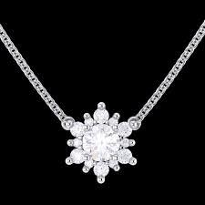 diamond flower pendant solid gold