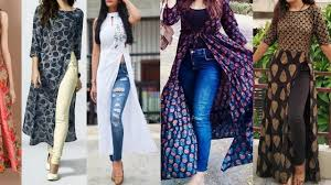 Kurta Designs To Wear With Jeans Long Kurti 2018 Stylish Kurti With Wear Jean And Leggings For Girls