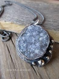 artisan metalsmith sterling silver gray druzy gemstone women s pendant necklace