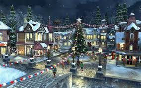 christmas town wallpaper. Brilliant Christmas Snowy Village Wallpaper  WallpaperSafari To Christmas Town T