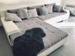Sofa Couch Wohnlandschaft Grau