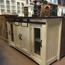 BARN DOOR CABINET- TV STAND WHITE DISTRESSED BROWN TOP | Rustic ...