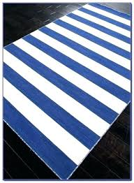 white striped outdoor rug blue