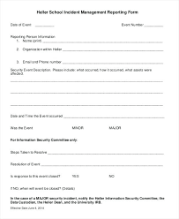 Information Security Incident Report Template It Response