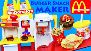 fast food maker mcdonalds happy meal magic hamburger snack maker toy review youtube