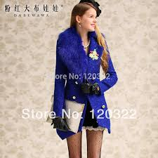 women slim jacket navy blue fur collar autumn and winter wool coat female whole