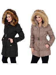 womens mid length padded parka coat faux fur hooded jacket las size uk 8 14